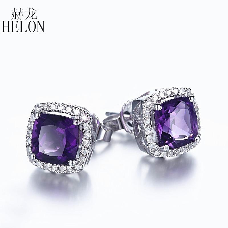 HELON Solid 10K White Gold Cushion 6mm Amethyst Earrings Fine Gem Natural Diamonds Stud Earrings Engagement For Women's Jewelry