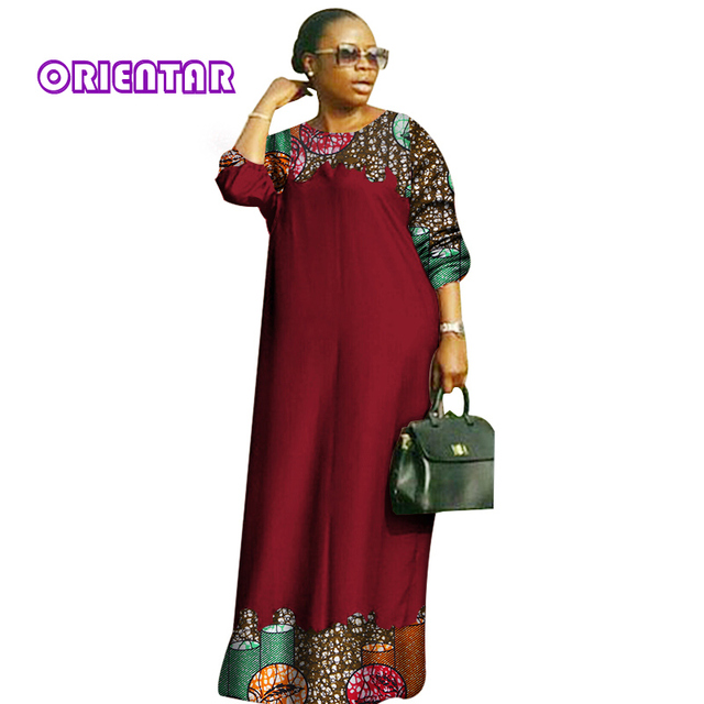 10745f349d4 2018 new african dresses for women Fashion Design dashiki women bazin riche  o-neck long loose dress dashiki plus size 6xl WY2879