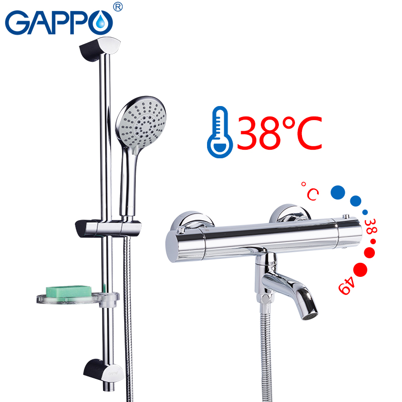 GAPPO Shower System bathroom thermostat shower faucet bath mixer set waterfall shower head set bath tub faucet taps             GAPPO Shower System bathroom thermostat shower faucet bath mixer set waterfall shower head set bath tub faucet taps