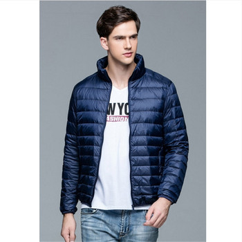 Male New Autumn Winter Man EiderdownJacket Ultra Light Thin Plus Size Spring Jackets Men Stand Collar Outerwear Fashion Coat