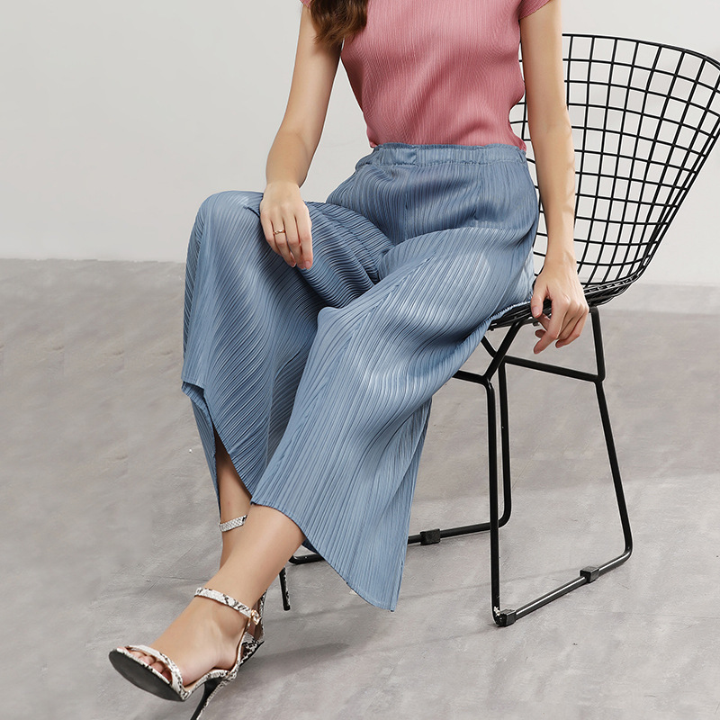 LANMREM 2019 New Summer Styles Women Clothes Pleated Vintage High Waist Elastic   Wide     Legs     Pants   Female Trousers WH22101
