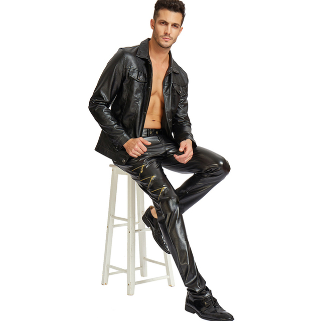 Idopy DJ Swag Skinny Mens Faux Leather PU Tight Black Joggers Stretchy Party Night Club Biker Pants For Men Boys With Zippers