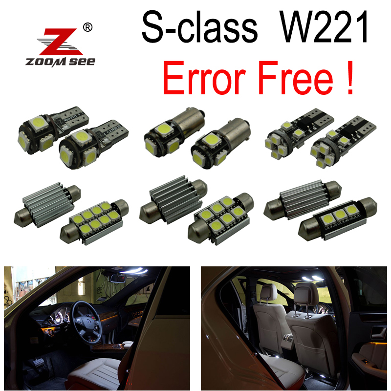 24pc X Error free LED lamp Interior Light Kit For Mercedes For Mercedes-Benz S class W221 S430 S55 AMG S63 AMG S65 AMG (2006+) 27pcs led interior dome lamp full kit parking city bulb for mercedes benz cls w219 c219 cls280 cls300 cls350 cls550 cls55amg