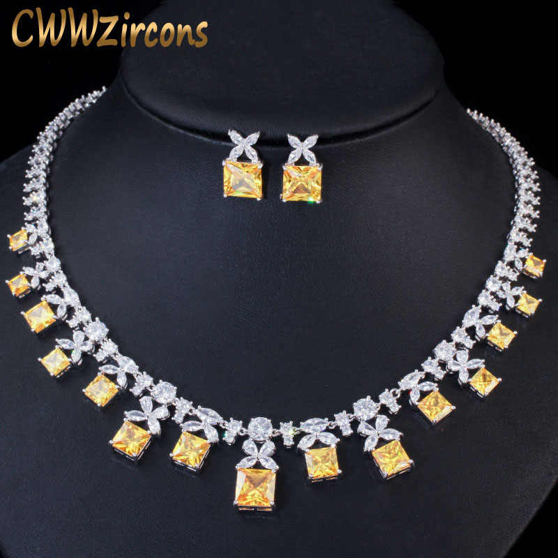CWWZircons Gorgeous Princess Cut Cubic Zirconia หินผู้หญิงงานแต่งงานชุดสร้อยคอชุดเครื่องประดับสำหรับเจ้าสาว T351