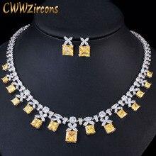 CWWZircons ゴージャスなプリンセスカット黄色キュービックジルコニアストーン女性ウェディングパーティーコスチュームためのジュエリーセットネックレス花嫁 T351