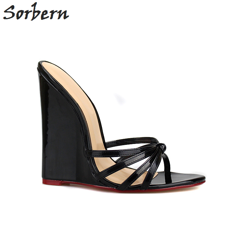 Sorbern Big Size 40-46 Straps Knot Wedge High Heels Open Toe Slippers Summer Outdoor Slides Shoes Women Unisex Size 44 High Heel sorbern fashion red slippers women open toe slip on mules for women slides summer sandal shoes unisex plus size platform heels