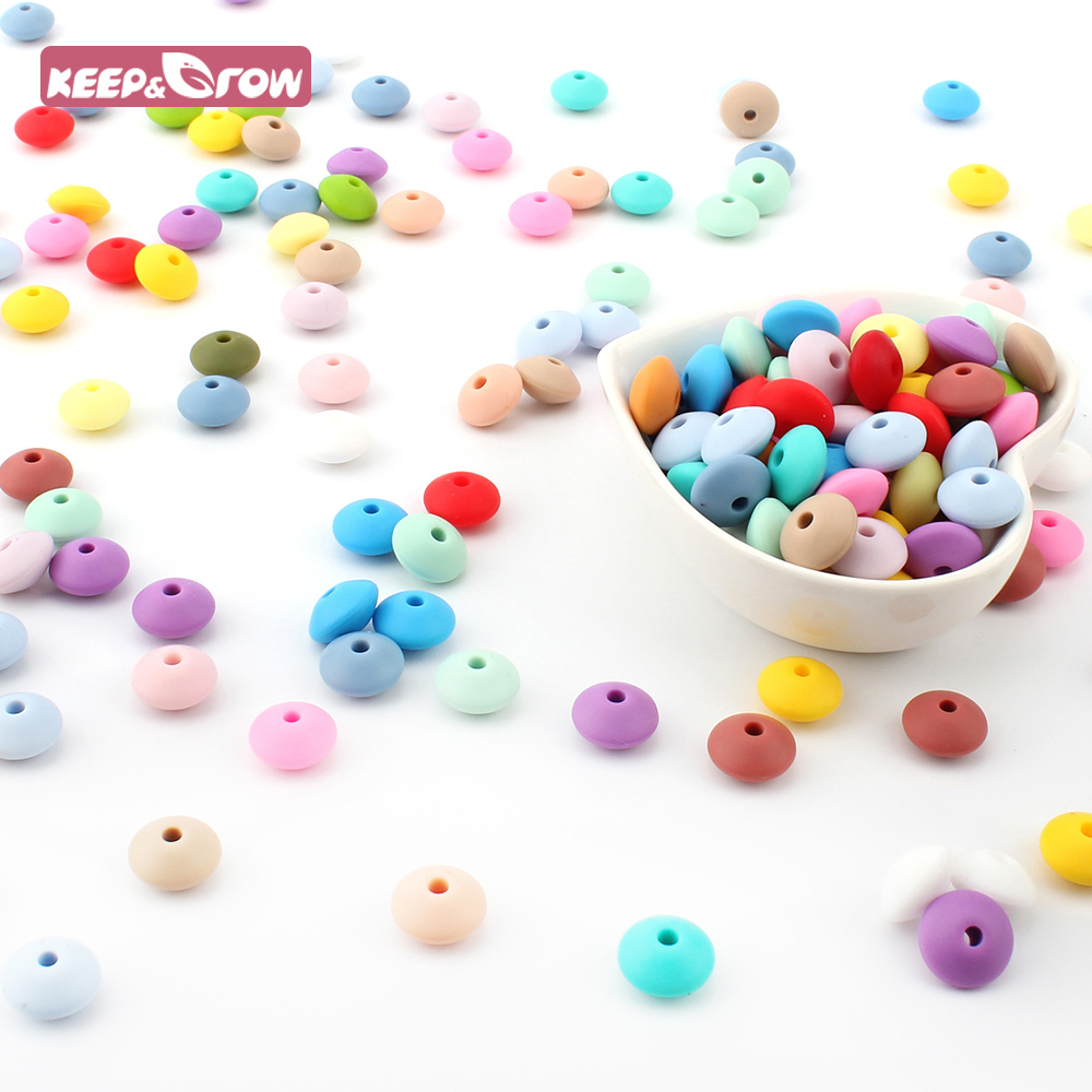 Keep&Grow 10Pcs 12MM Silicone Lentil Beads BPA Free Food Grade Abacus Beads For Pacifier Chain Making Baby Teething Teether Toys