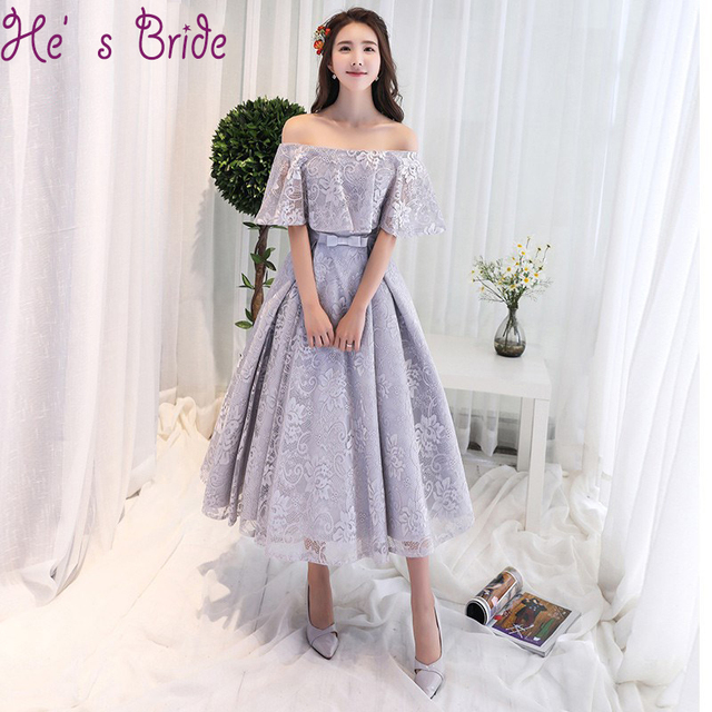 Robe De Soiree A Line Gray Champagne Tea Length Evening Dress Party Elegant  Vestido De Festa Simple Prom Gown 2018 With Bow c08d4aa09f78