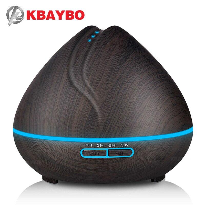 KBAYBO 400 ml Aroma difusor de aceite esencial ultrasonido humidificador de aire purificador con grano de madera luces LED para oficina dormitorio