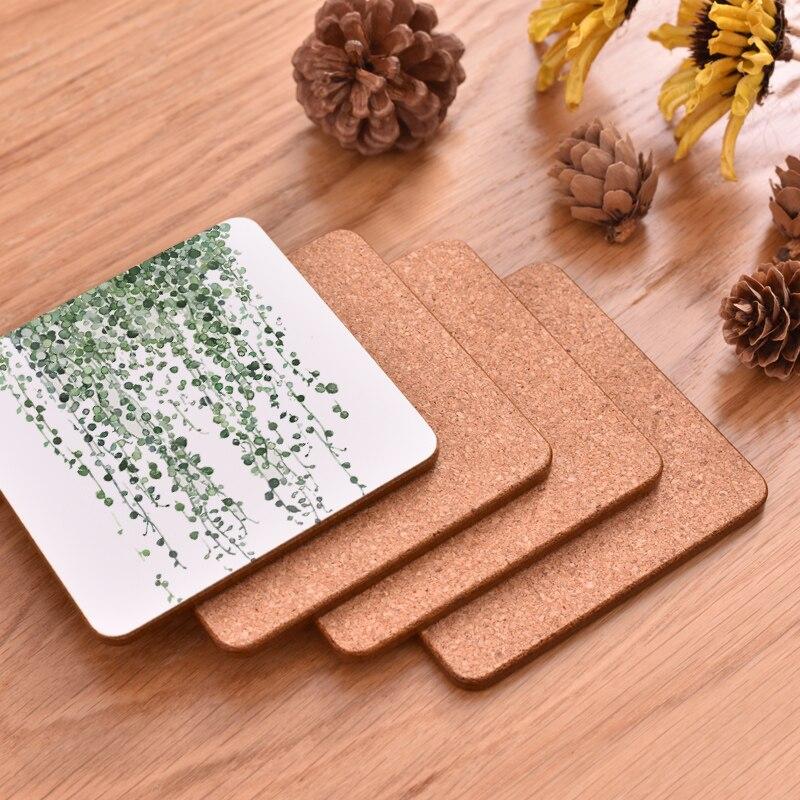 100 Uds. Cmen A's planta de impresión de madera posavasos almohadilla de la taza antideslizante térmica tapete café té bebida posavasos tapete de marca pintado A mano - 5