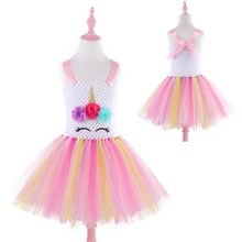 Pastel Rainbow Girls Unicorn Tutu Dress Flower Girls Tulle Dress Cartoon Princess Kids Party Dresses for Halloween Christmas(China)