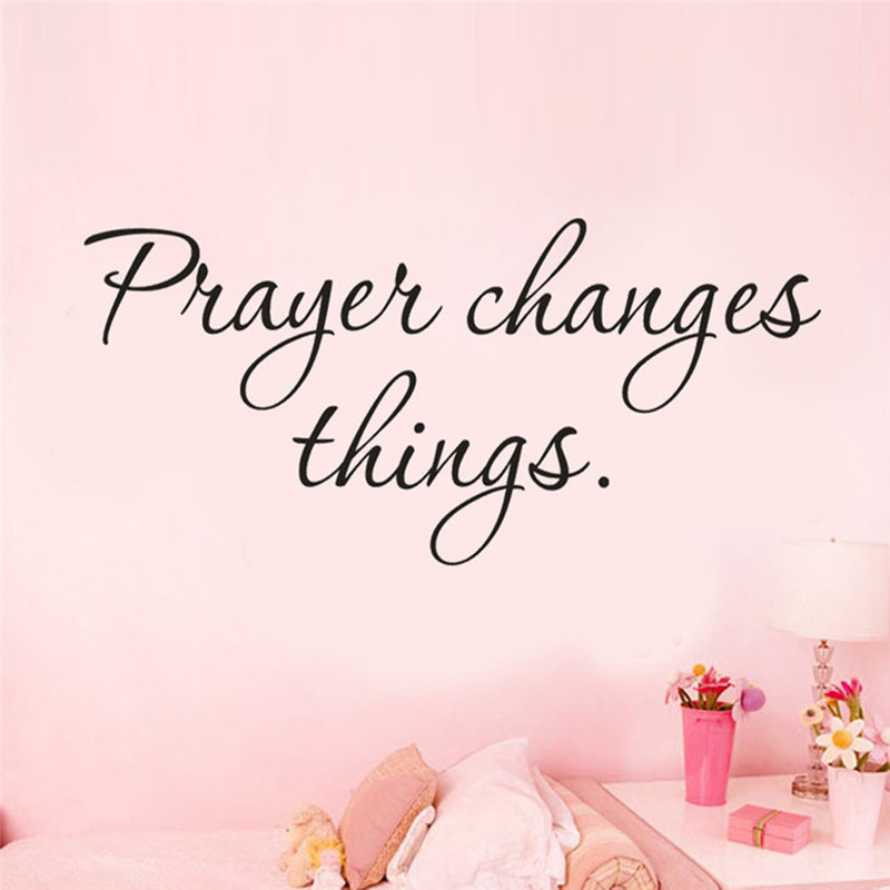 New English Quote Letters Prayer Changes Things Home Decor Art Vinyl Mural Living Room Decor Wall