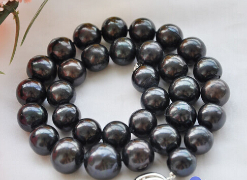 Wholesale free shipping 100% Natural jewelry >>HUGE REAL 18 13mm ROUND black freshwater cultured PEARL NECKLACE wholesale 100 pcs button black freshwater pearl half hole drilled q30159 1