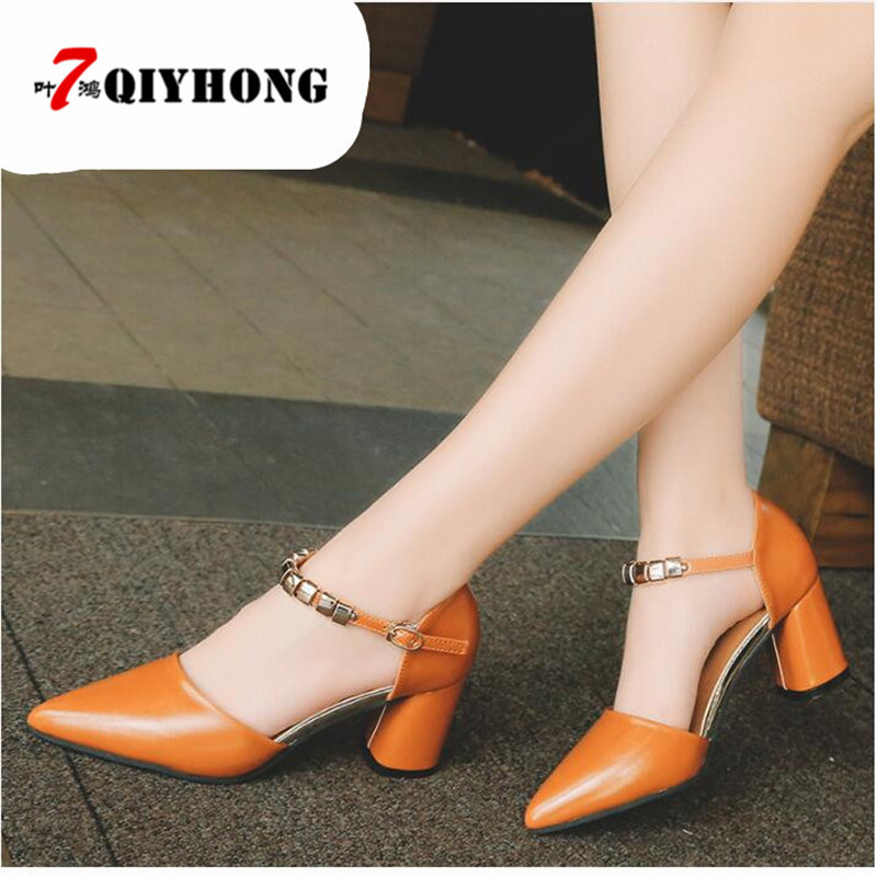 <font><b>2018</b></font> Spring And Summer New <font><b>Sexy</b></font> Pointed PU <font><b>Sandals</b></font> Baotou Heels Hollow Word Buckle Thick With Single Shoes Shoes Woman image