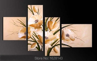 4 Piece Hand Painted Large Group Canvas Oil Painting Big White Flowers Picture High Quality Bedroom