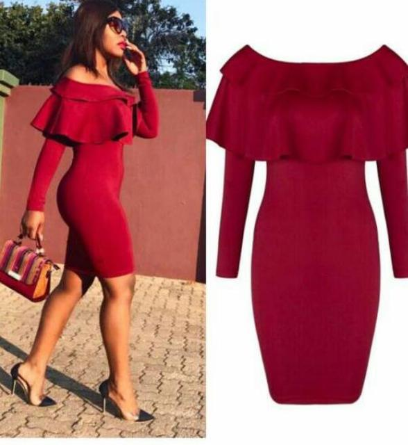 2017 Hot Sell Red Sexy Long Sleeve Slash Neck Ruffles Knitted Cotton Christmas  party dress Women - 2017 Hot Sell Red Sexy Long Sleeve Slash Neck Ruffles Knitted Cotton