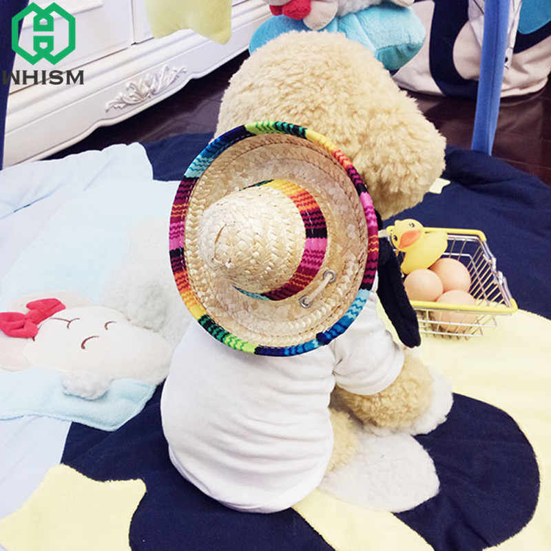 75f4dfc5 WHISM Mini Pet Dogs Caps Sombrero Sun Hat Beach Party Straw Hats Dogs  Mexican Style Hat
