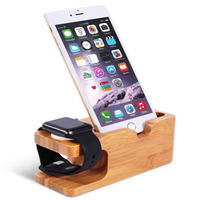 Charging Holder Changing Stand Bamboo Base Docking Mount For Apple Watch Iphone
