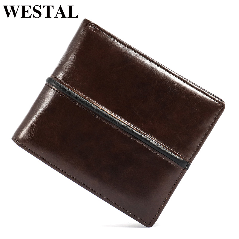 цена WESTAL Genuine Cowhide Leather Men Wallet Short Coin Purse Small Vintage Wallet Brand High Quality Designer Wallets Purse 7102