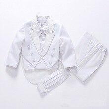 Модный костюм для маленьких мальчиков белого и черного цвета детские блейзеры костюм для мальчиков на свадьбу, выпускной, торжественное весенне-осеннее свадебное платье костюм для мальчиков 5 шт
