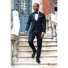 f14ed3a070e5 Hot Sale Navy Blue Groom Tuxedos Sexy Shawl Lapel Custom Made Wedding Prom  Suit for Men
