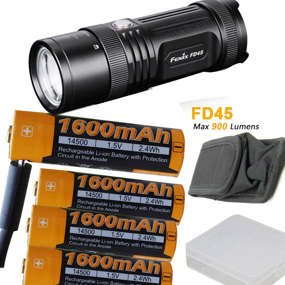 Fenix FD45 900 Lumen LED Flashlight with 4 X Fenix ARB-L14-1600U USB charging AA battery,usb cable,battery case