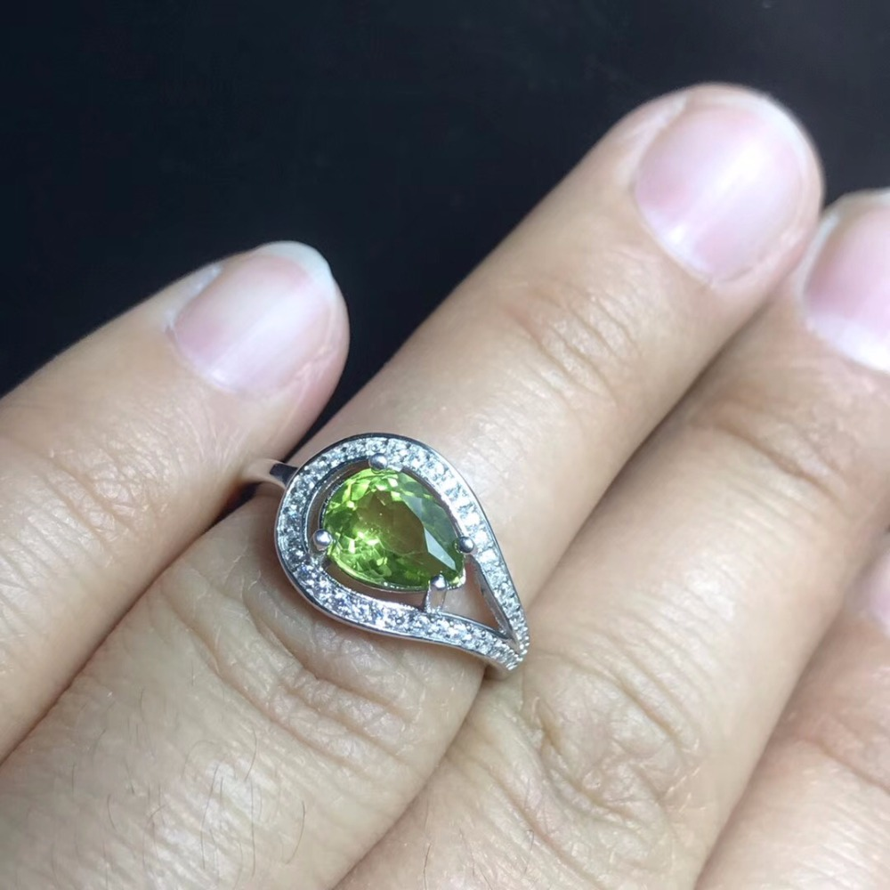 US STOCK Uloveido Natural Peridot Ring for Women, 925 Sterling Silver Wedding Jewelry, 6*8mm Gemstone with Velvet Box FJ234