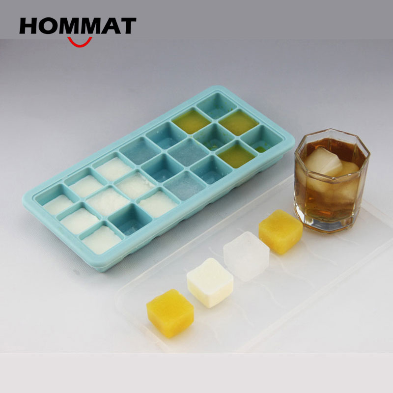 Styling Tools Party Bar Square Silicone Ice Cube Mold Tray With Lid