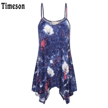 Timeson Summe Cami Fashion V-Neck Women Spaghetti Strap Top Loose Irregular Hem Casual Women Print Tee Sleeveless Tops Camisole