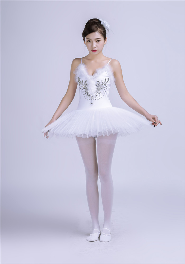 Gymnastic Leotard Ballet Tutu Dress Dress Girls White
