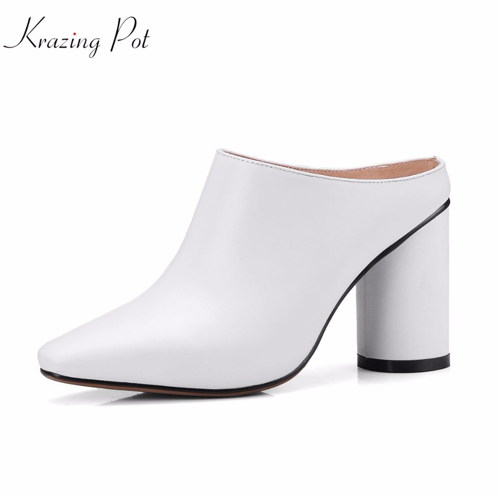 Krazing pot 2018 genuine leather mules brand shoes square toe high heels women pumps style high street fashion handmade L4f1 миксер lira lr 0301