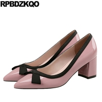 pink pointed toe patent leather size 4 34 block bow thick black designer high heels 2019 slip on korean women grey shoes pumps