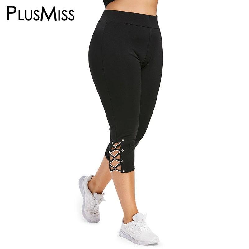 PlusMiss Plus Size 5XL High Waist Lace Up Capri   Leggings   Women Summer XXXXL XXXL Cropped Short Leggins Skinny Jeggings Legins
