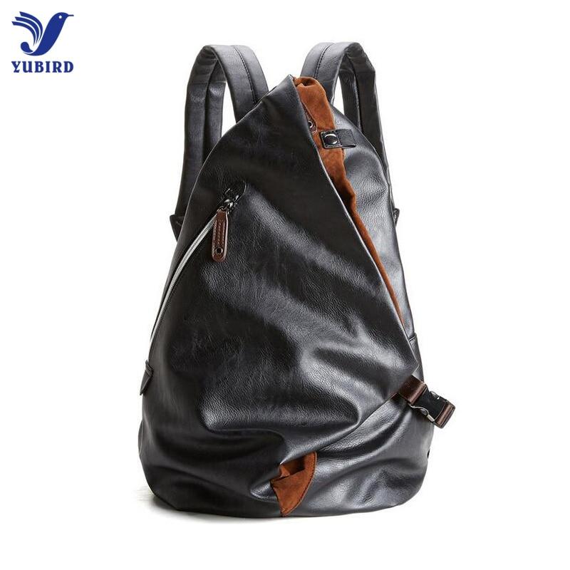 2017 Fashion Men Backpack PU Leather Backpack Male Laptop Backpack Leather Bag Black Teenager School Mochila Travel Backpack