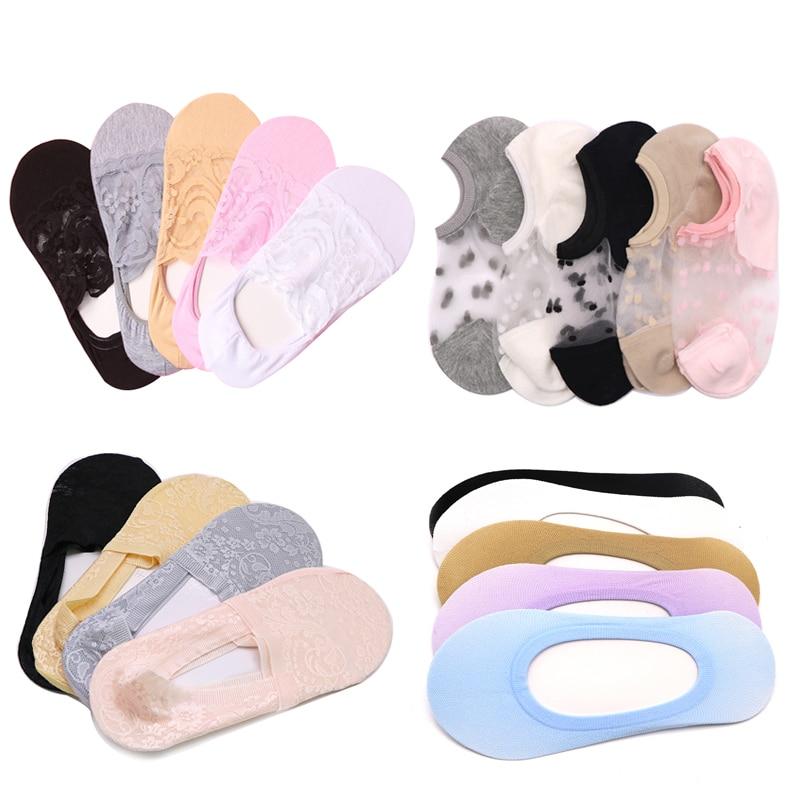 1/3/4/5pair Women Girls Sock Slippers Ladies Invisible Socks Female Ladies Shallow Mouth No Show Socks Boat Socks Summer Styles