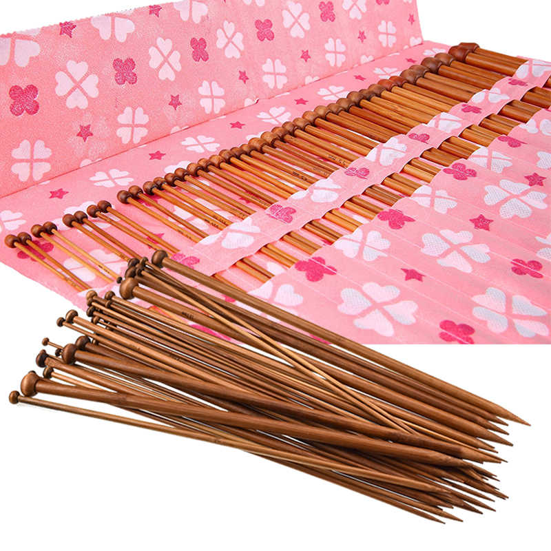 36-Pack الخيزران الحياكة الإبر للمبتدئين والمهنية سترة الكروشيه الإبر مجموعة (18 أحجام من 2 مللي متر إلى 10 مللي متر) Knitting بها بنفسك الحياكة