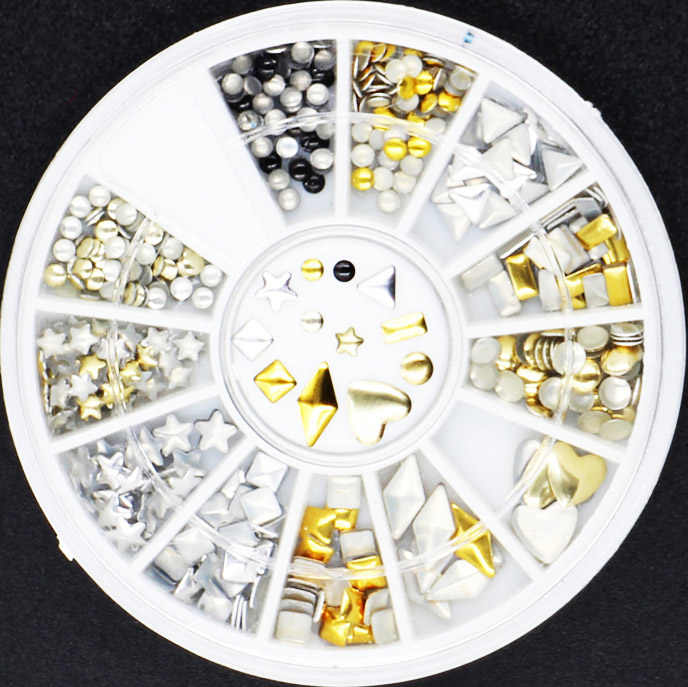 1 rueda mezcla de colores moda diferentes formas clavo de remache decoraciones de arte parche fino calcomanías para arte de uñas tachuelas DIY herramientas de diamantes de imitación