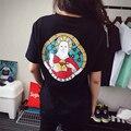 2016 Verão Casuais Mulheres do Hip Hop Camiseta de Manga Curta O Pescoço Do Gato Engraçado Ripndip Deus Camiseta Roupas Femininas