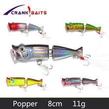 цена CRANK BAITS topwater Popper artificial Hot Model Fishing Lures Hard Bait 7 colors Popper 80mm 11g Floating baits Wobblers YB3 онлайн в 2017 году