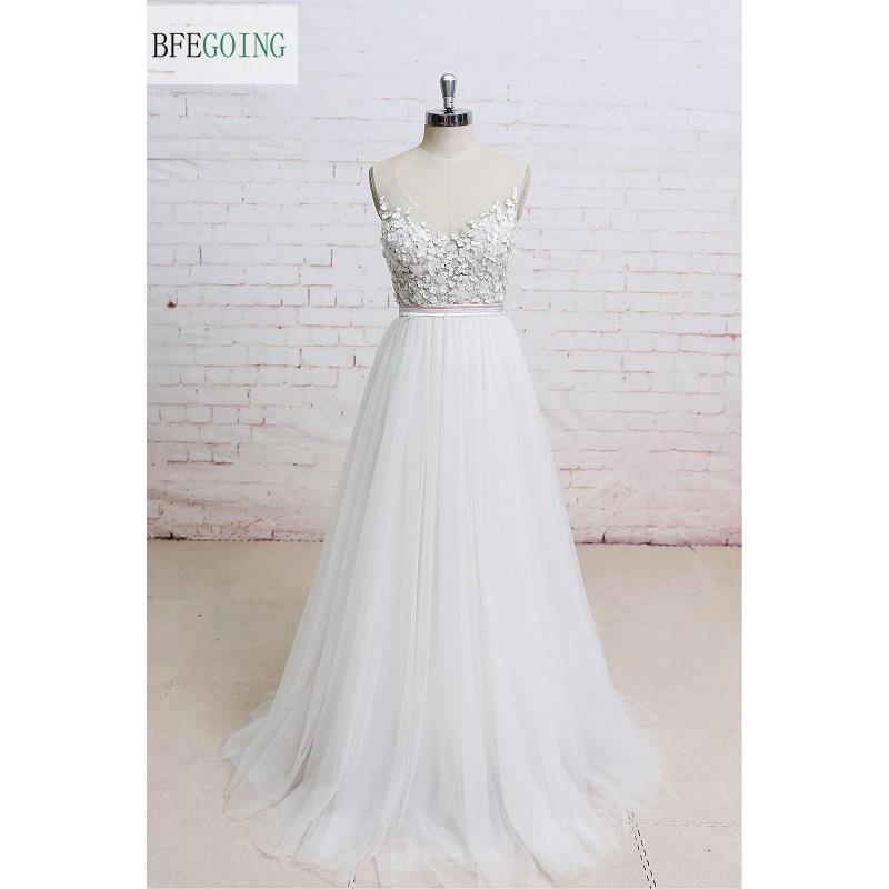 White V Neck Appliques Tulle Floor Length A line Wedding dress Sleeveless Real Original Photos Custom