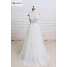 Vestido de novia blanco con cuello en V, tul, largo hasta el suelo, sin mangas, fotos reales/originales, hecho a medida
