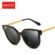 Simvey New Fashion Cat Eye Sunglasses Women Brand Designer Sunglasses Classic Shades Round Frame Oculos De Sol UV400
