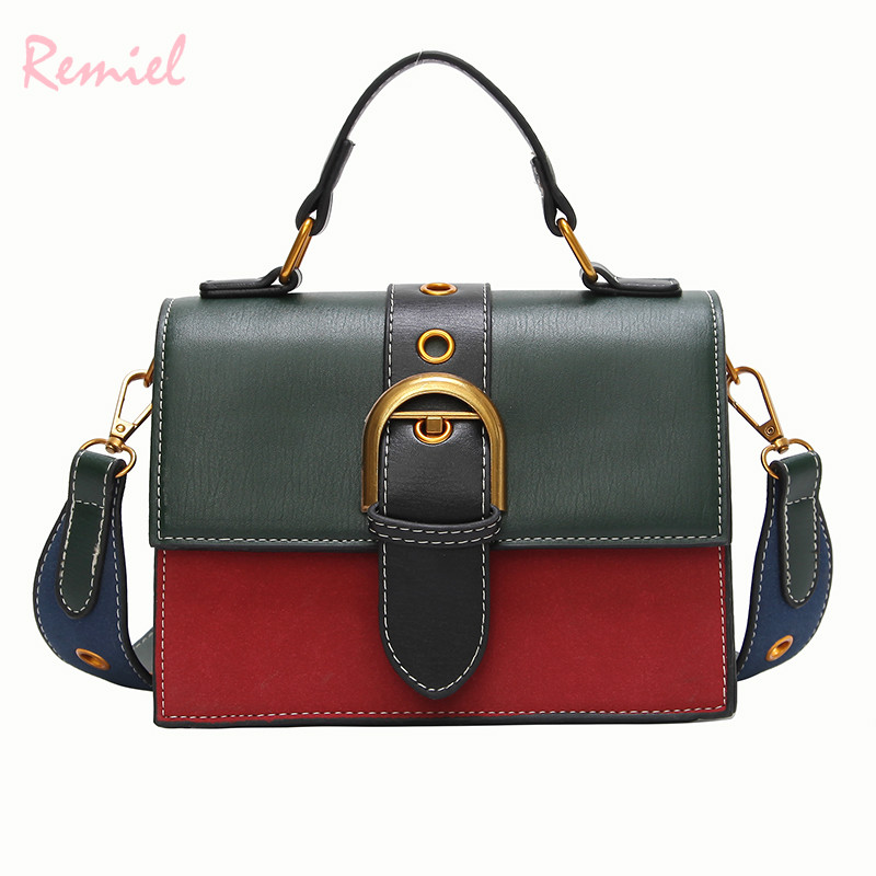 Bags For Women 2020 Fashion New Quality PU Leather Women Bag Hit Color Portable Shoulder Messenger Bag Travel Tote Crossbody Bag