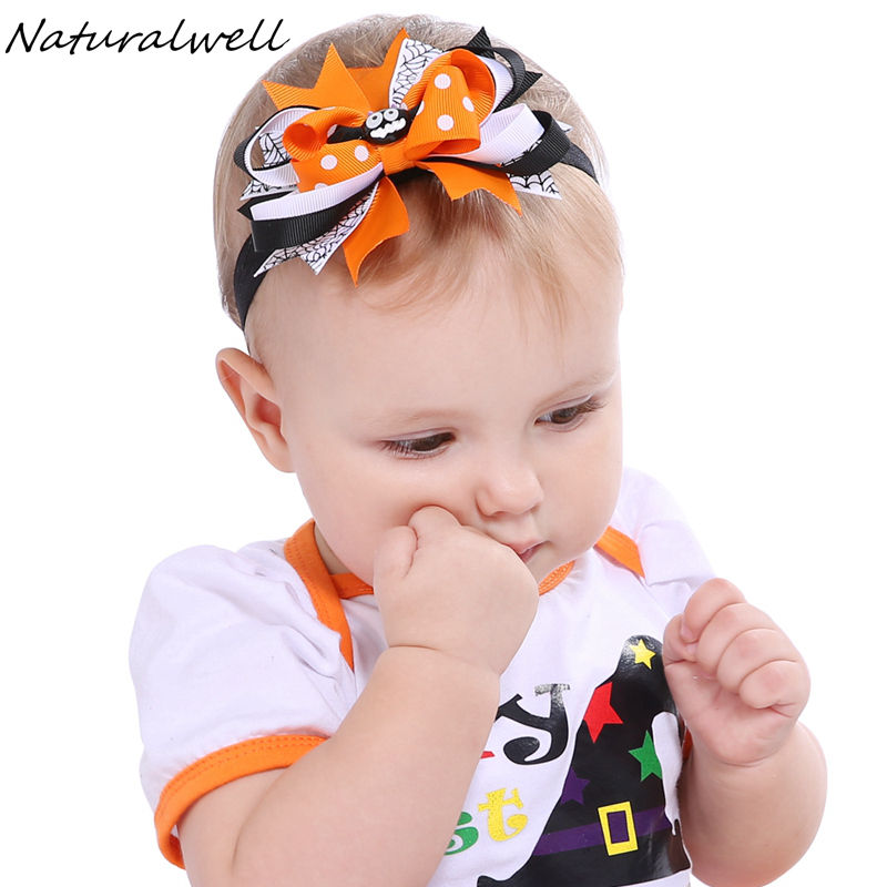 Naturalwell Halloween Hair Bows Orange Spooky Headband Baby Girls Headbands Festival Pageant Boutique Toddler Photo Prop HB612