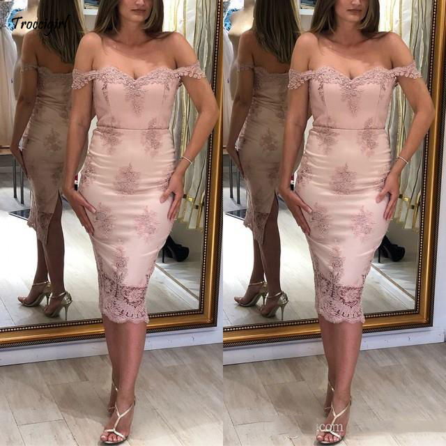 Blush Pink 2019 Cheap   Cocktail     Dresses   Lace Applique Off Shoulder Short   Dresses   Homecoming   Dress   Graduation