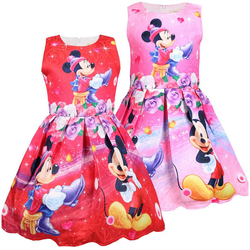 Girls Autumn Winter Micky Mouse Bow Dress 3-7Y