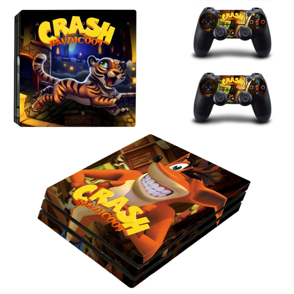 US $6 91 5% OFF|Game Crash Bandicoot Cover Skin Sticker For Playstation 4  PS4 PRO Console Skin Sticker +2 PCS Controller Protective Decals-in  Stickers