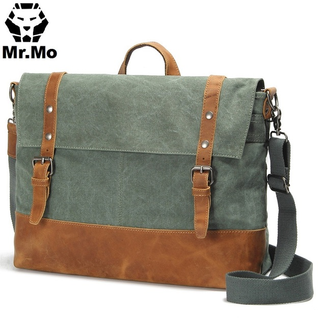 New Executive Male Side Bags Canvas And Cowhide Leather Messenger Shoulder Bag For High Student School