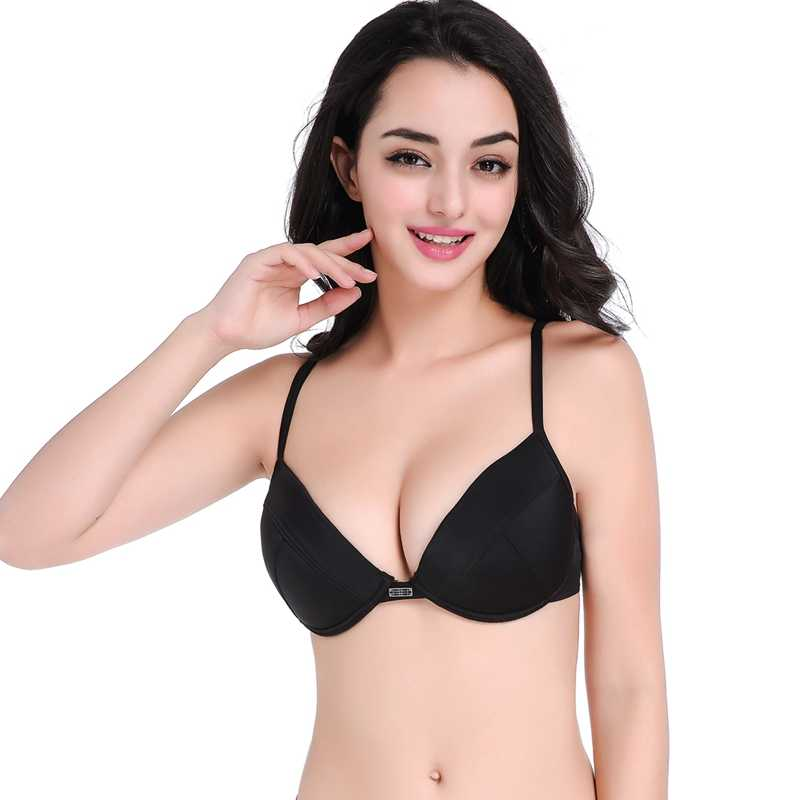 Eropa dan Amerika Gaya Bra A B C Adjustable Neck Strap Berenang Top Berkawat Double Layer Padding Push Up Hitam atasan Bikini