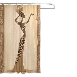 Image 3 - Ekologiczne afrykańskie kobiety zasłony prysznicowe wodoodporna kurtyna kąpielowa z tkaniny poliestrowej do łazienki z 12 hakami Home Decor